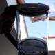 moderner Wasserkocher aus Glas mit Edelstahl und LED-Leuchten