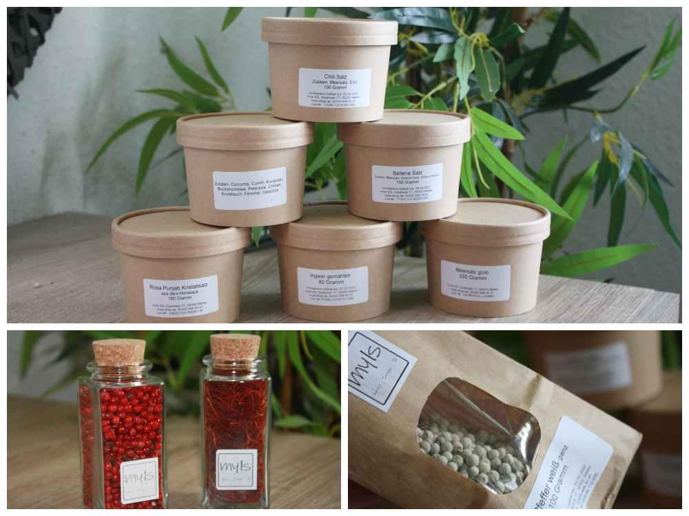 nachhaltige Gewürzverpackungen aus Karton, Glas und Kork